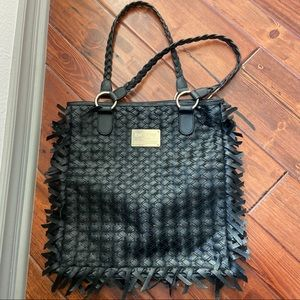 Leather woven tote bag